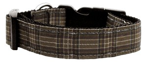 Plaid Nylon Collar Brown Large