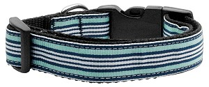 Preppy Stripes Nylon Ribbon Collars Light Blue/White Large