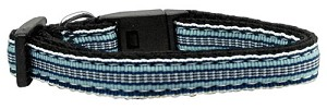 Preppy Stripes Nylon Ribbon Collars Light Blue/White Sm