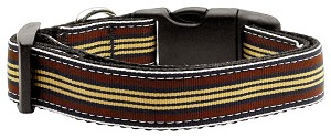Preppy Stripes Nylon Ribbon Collars Brown/Khaki Medium