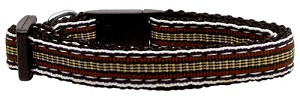 Preppy Stripes Nylon Ribbon Collars Brown/Khaki Sm