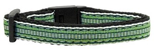 Preppy Stripes Nylon Ribbon Collars Green/White Cat Safety