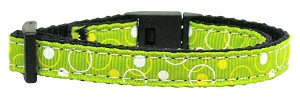 Retro Nylon Ribbon Collar Lime Green Cat Safety
