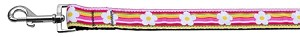 Striped Daisy Nylon Ribbon Pet Leash 1 inch wide 6Ft Lsh