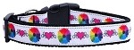 Technicolor Love Nylon Ribbon Dog Collars Medium