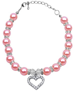 Heart and Pearl Necklace Rose Md (8-10)