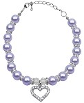 Heart and Pearl Necklace Lavender Sm (6-8)
