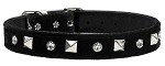 Velvet Crystal and Pyramid Collars Black 10