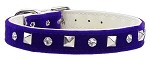 Velvet Crystal and Pyramid Collars Purple 10