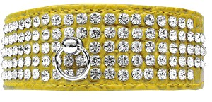 Mirage 5 Row Rhinestone Designer Croc Dog Collar Yellow Size 18