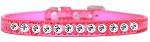 One Row Clear Jewel Croc Dog Collar Bright Pink Size 10