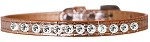 One Row Clear Jewel Croc Dog Collar Copper Size 10