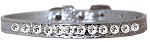 One Row Clear Jewel Croc Dog Collar Silver Size 10