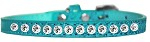 One Row Clear Jewel Croc Dog Collar Turquoise Size 10