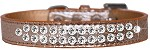Two Row Clear Jewel Croc Dog Collar Copper Size 12