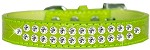 Two Row Clear Jewel Croc Dog Collar Lime Green Size 12