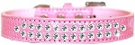 Two Row Clear Jewel Croc Dog Collar Light Pink Size 12