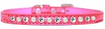 Pearl and Clear Jewel Croc Dog Collar Bright Pink Size 10