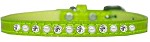 Pearl and Clear Jewel Croc Dog Collar Lime Green Size 10