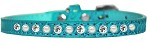 Pearl and Clear Jewel Croc Dog Collar Turquoise Size 10