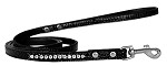 Clear Jewel Croc Leash Black 1/2'' wide x 4' long
