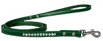 Clear Jewel Croc Leash Emerald Green 1/2'' wide x 4' long