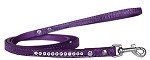 Clear Jewel Croc Leash Purple 1/2'' wide x 4' long