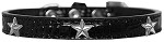 Silver Star Widget Croc Dog Collar Black Size 10