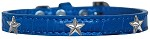 Silver Star Widget Croc Dog Collar Blue Size 14