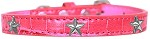 Silver Star Widget Croc Dog Collar Bright Pink Size 18