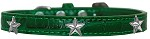 Silver Star Widget Croc Dog Collar Emerald Green Size 10