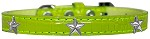 Silver Star Widget Croc Dog Collar Lime Green Size 12