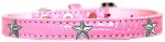 Silver Star Widget Croc Dog Collar Light Pink Size 12