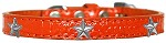 Silver Star Widget Croc Dog Collar Orange Size 14