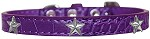 Silver Star Widget Croc Dog Collar Purple Size 18