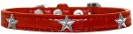 Silver Star Widget Croc Dog Collar Red Size 16