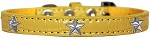 Silver Star Widget Croc Dog Collar Yellow Size 12