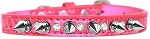 Silver Spike and Clear Jewel Croc Dog Collar Bright Pink Size 10