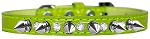 Silver Spike and Clear Jewel Croc Dog Collar Lime Green Size 10