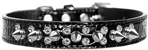 Double Crystal and Spike Croc Dog Collar Black Size 16