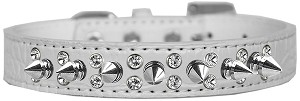 Double Crystal and Spike Croc Dog Collar White Size 14