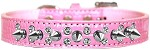 Double Crystal and Spike Croc Dog Collar Light Pink Size 12