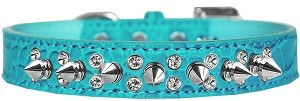 Double Crystal and Spike Croc Dog Collar Turquoise Size 18