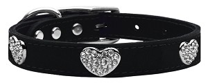 Crystal Heart Genuine Leather Dog Collar Black 24