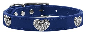 Crystal Heart Genuine Leather Dog Collar Blue 22