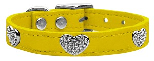 Crystal Heart Genuine Leather Dog Collar Yellow 16