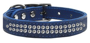 Two Row Clear Jeweled Leather Blue 16