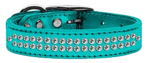 Two Row Clear Crystal Metallic Leather Turquoise 16