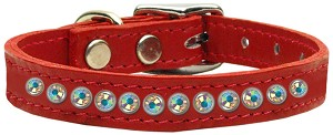 One Row AB Jeweled Leather Red 14