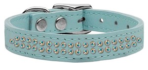 Two Row AB Jeweled Leather Baby Blue 16